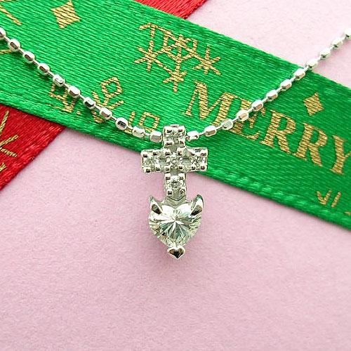 【上質ジュエリー】ホワイトゴールド(K18WG) ダイヤモンド ネックレス(ハート/クロス/一粒ダイヤ)【宝石 ジュエリー】【プレゼント】【刻印無料】*