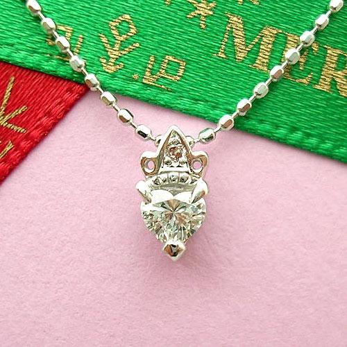 【上質ジュエリー】ホワイトゴールド(K18WG) ダイヤモンド ネックレス(ハート/ピンクダイヤ入り/クラウン/一粒ダイヤ)【宝石 ジュエリー】【プレゼント】【刻印無料】*
