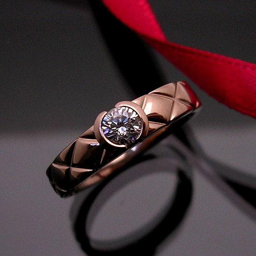 【上質ジュエリー】K18ピンクゴールドダイヤモンド リング(D 0.20ct/一粒石/シンプル/マリッジ/エンゲージ)【宝石 ジュエリー】【プレゼント】【刻印無料】*