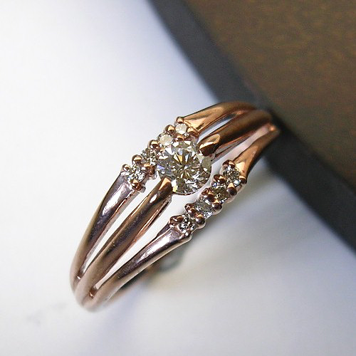 [スピード配]K10ピンクゴールドダイヤ リング(ハート&キューピット)【宝石 ジュエリー】【プレゼント】【刻印無料】*