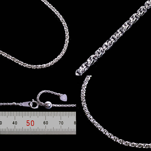 White Gold K18 1.4 ベネチアンツイストチェーンネックレス (thickness 1.4 mm / length 45 cm / free slide / another length can note / bullion / order / domestic / adjuster)