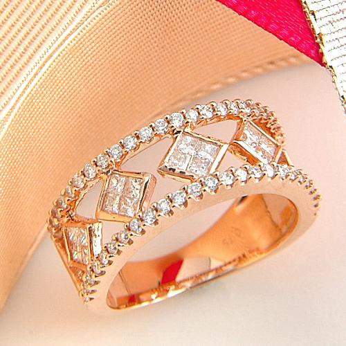 [スピード配]ピンクゴールド(K18PG) ダイヤモンド リング(プリンセスカット/ピンクゴールド)【ハイクラス】【宝石 ジュエリー】【プレゼント】【刻印無料】*