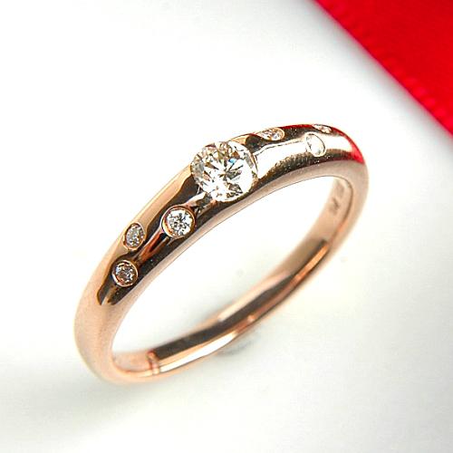 【上質ジュエリー】ピンクゴールド(K18PG) ダイヤモンド リング(ドット/ピンクゴールド)【宝石 ジュエリー】【プレゼント】【刻印無料】*