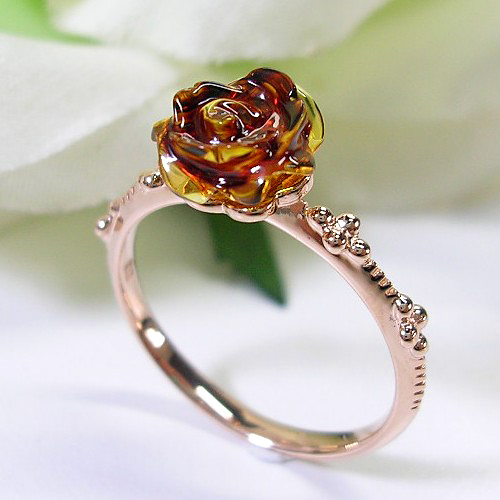 Pink Gold K10pg Amber Ring
