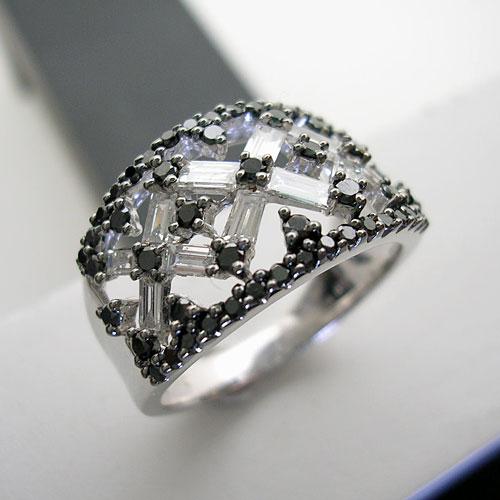 [スピード配]ホワイトゴールド(K18WG) ダイヤ/ブラックダイヤモンド リング(幅広/ボリューム/テーパー/角ダイヤ)【宝石 ジュエリー】【プレゼント】【刻印無料】*
