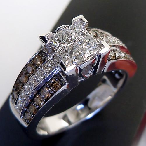 【ポイント10倍】[スピード配]ホワイトゴールド(K18WG) ダイヤ/ブラウンダイヤモンド リング(幅広/ボリューム/プリンセス/角ダイヤ)【宝石 ジュエリー】【プレゼント】【刻印無料】*