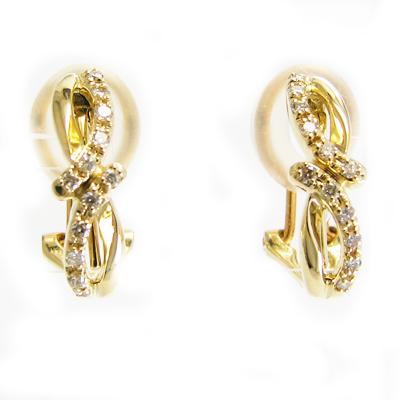 イヤリング ピアス 兼用型 ダイヤモンド K18 イエローゴールド 0.1ct×2 1ペア販売 送料無料 プレゼント ギフト対応 8の字 曲線美