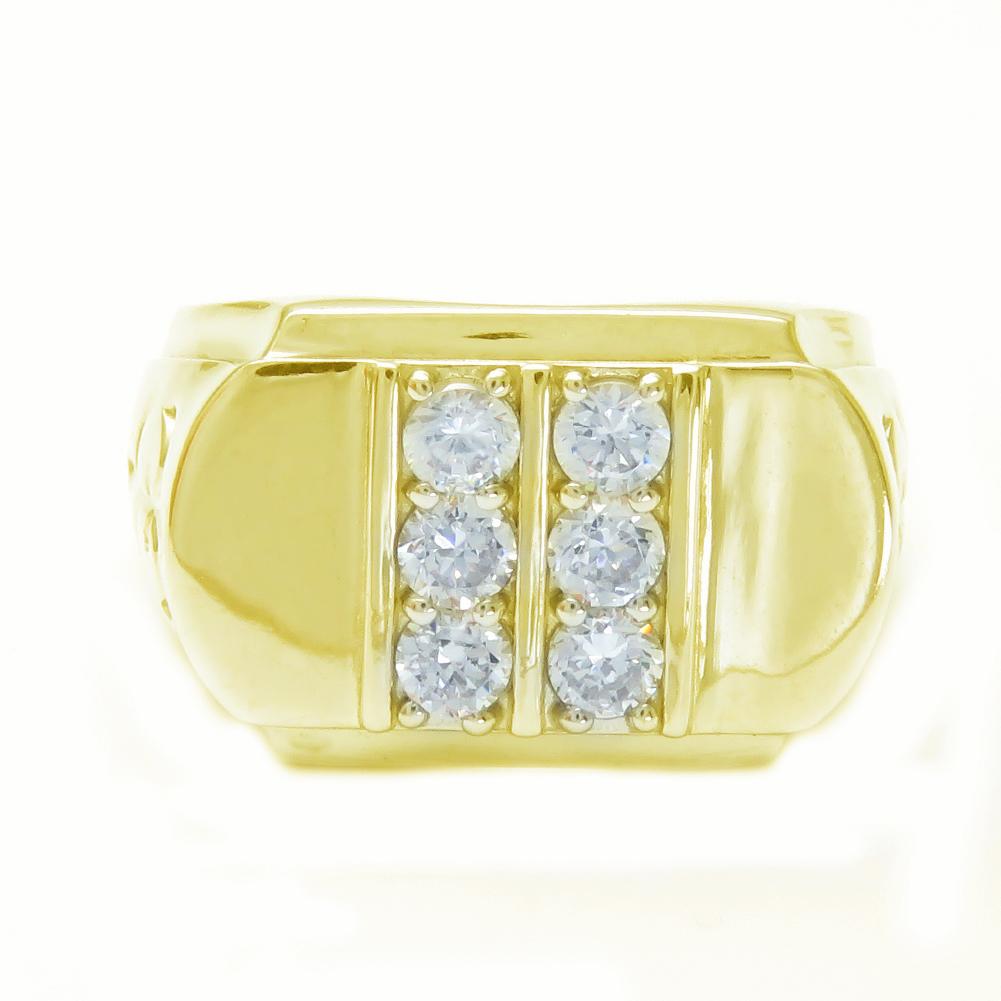 K18 ダイヤモンド 印台 デザインリング 指輪 幅広 高級 0.8ct