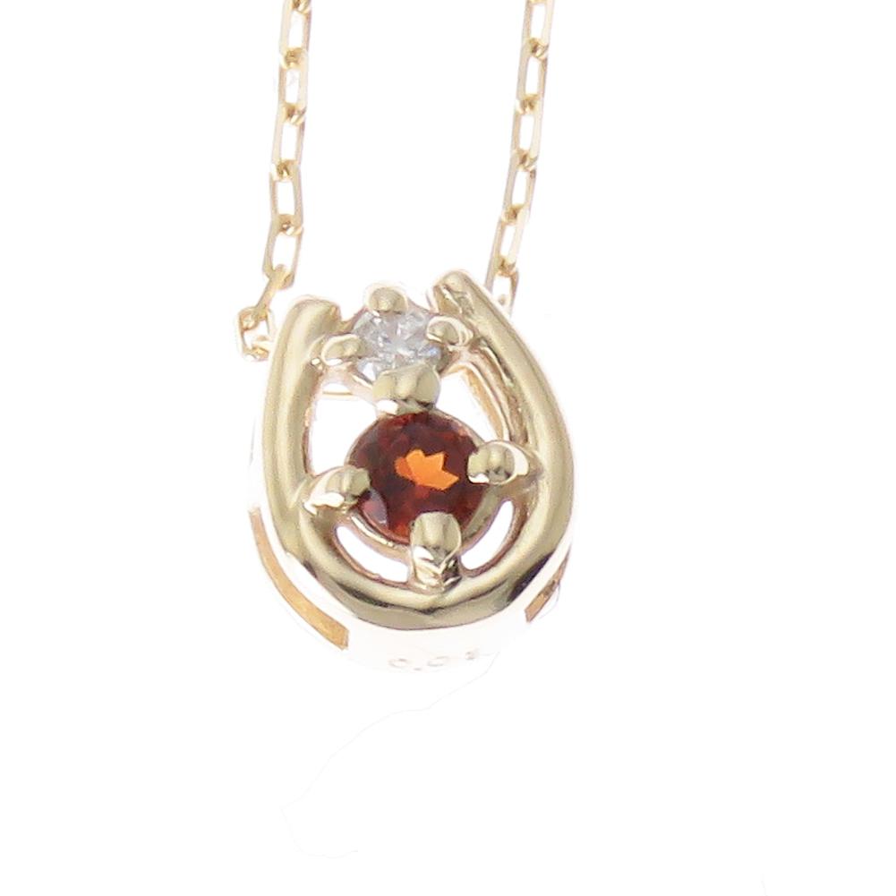 ホースシュー ネックレス ダイヤモンド K18 18金 馬蹄 選べる金色 ペンダントプレゼント ギフト対応 ガーネット