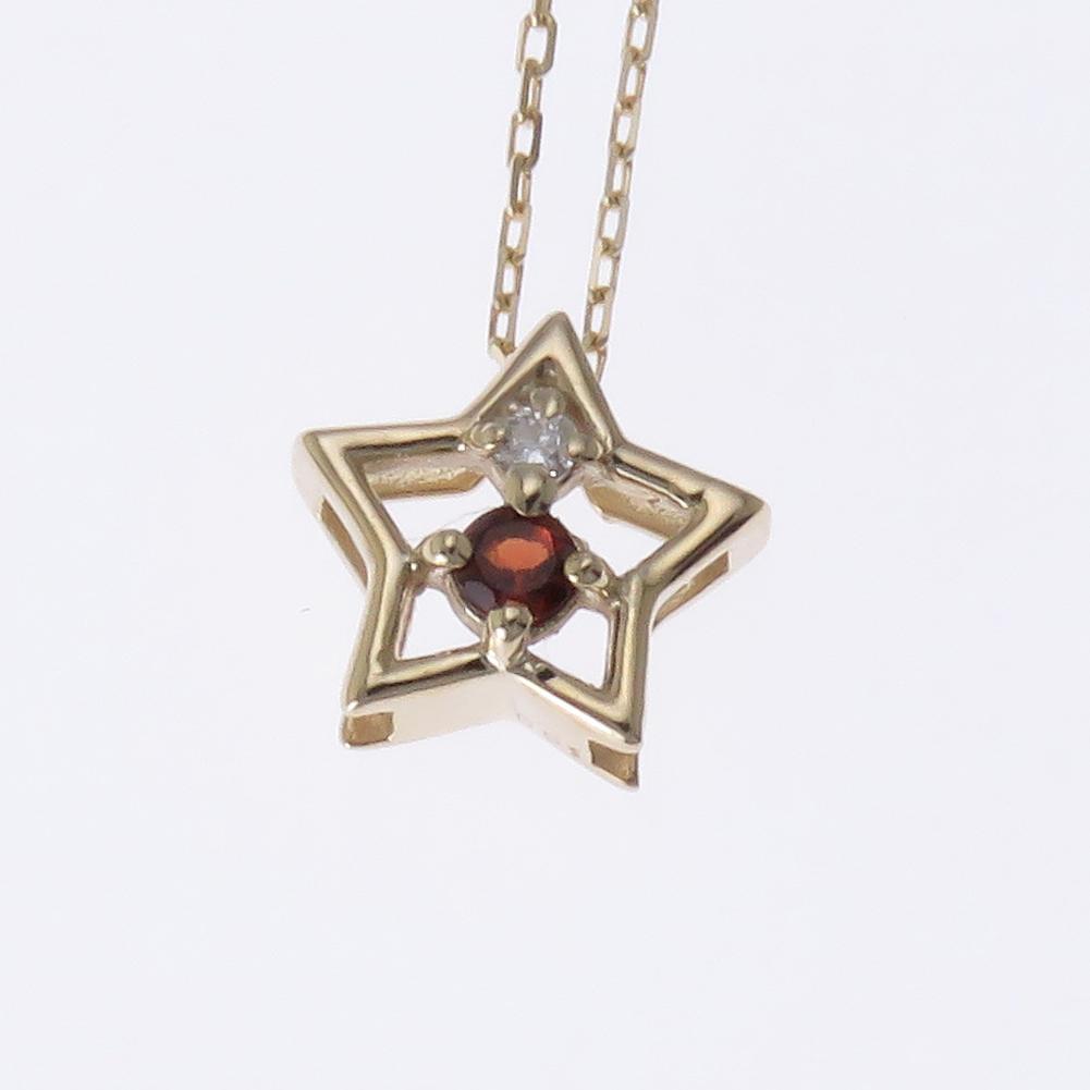 スター ネックレス ダイヤモンド K18 18金 星形 選べる金色 ペンダントプレゼント ギフト対応 ガーネット