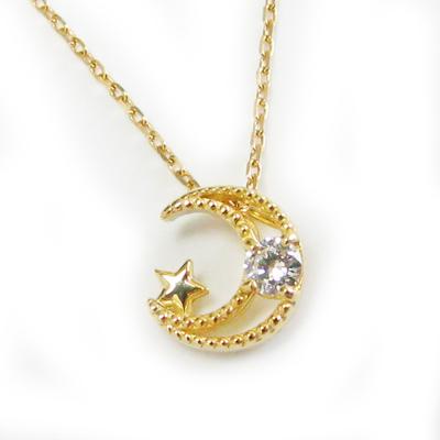 月 星 ネックレス ダイヤモンド K18 18金 イエローゴールド ムーン スター 選べる金色 ペンダントプレゼント ギフト対応 定番 ミル打ち