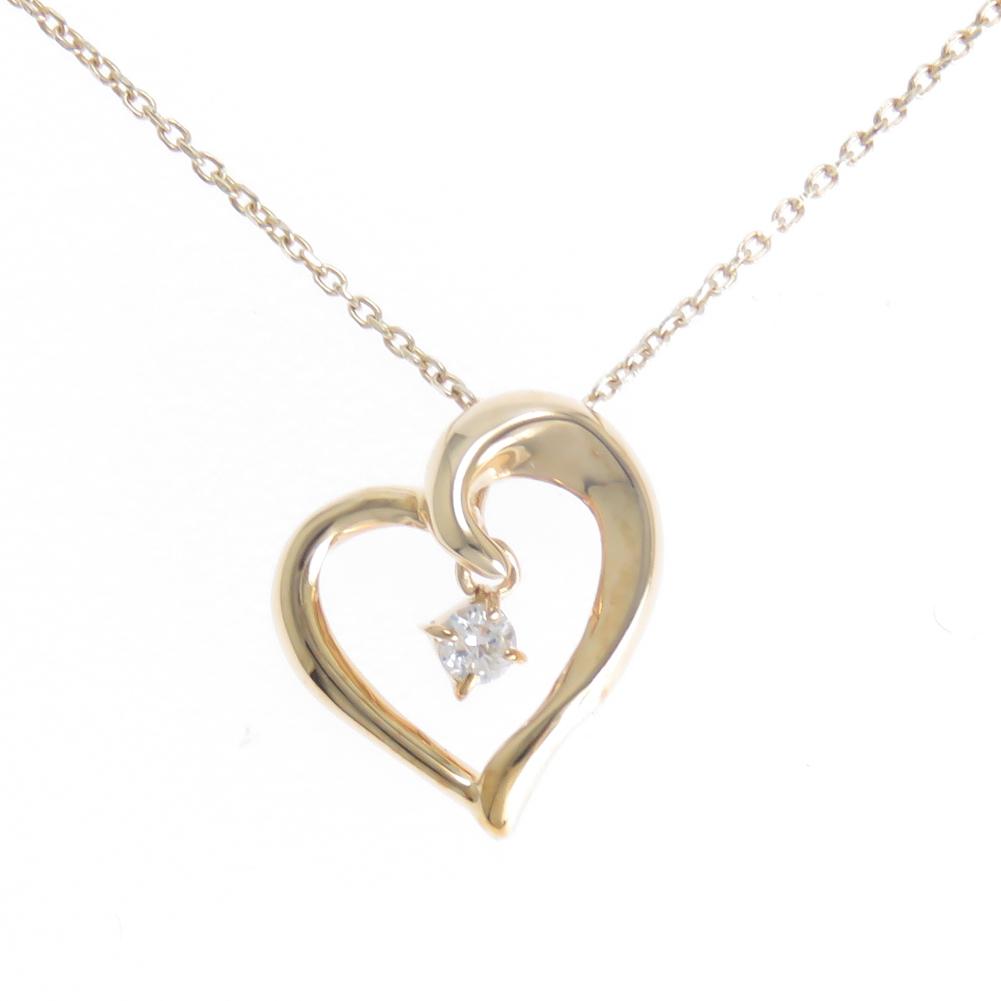 ネックレス ハート ダイヤ レディース オープンハート ペンダント 揺れるダイヤモンド