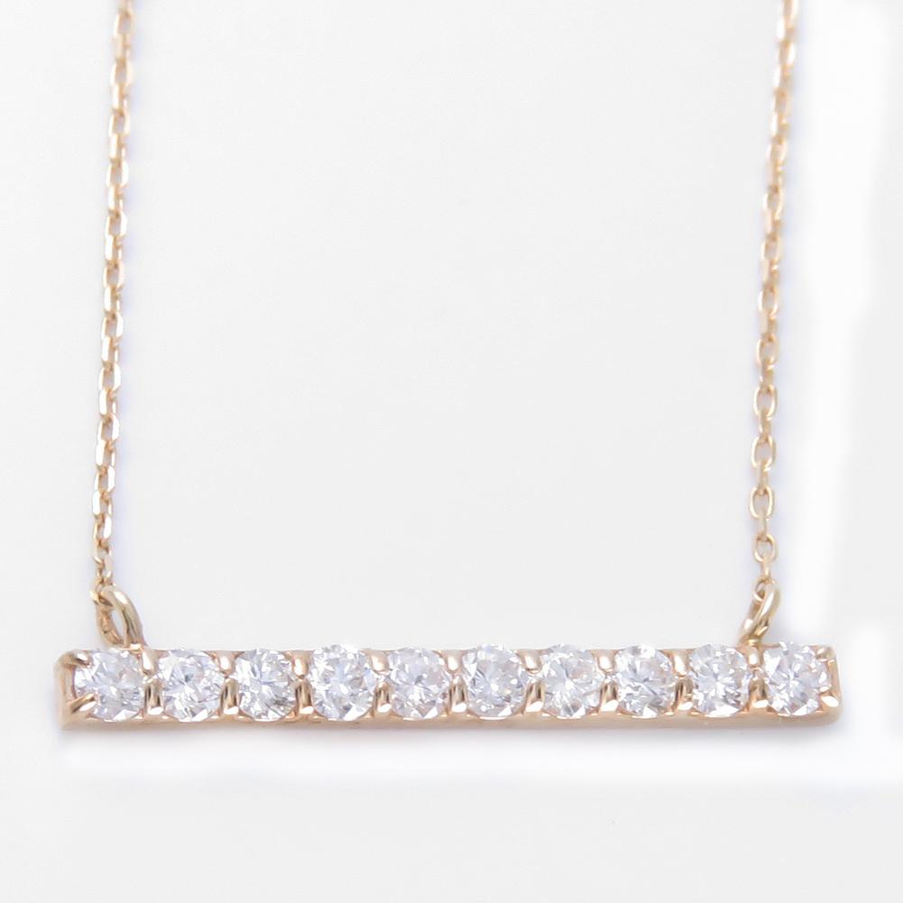 バー ネックレス ダイヤモンド K18 18金 棒状 選べる金色 ペンダントプレゼント ギフト対応 ダイア