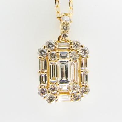 バゲットダイヤモンド ネックレス ペンダント ペンダントネックレス18金 K18WG ホワイトゴールド 1ペア販売 送料無料 プレゼント ギフト対応 1級品 高級 バケット 角ダイヤ