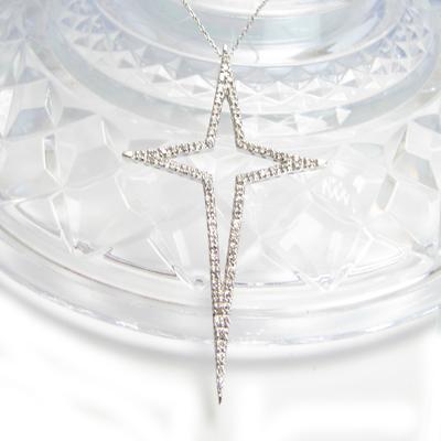 ダイヤモンド ペンダント ネックレス K18ホワイトゴールド キー スタークロス 星 十字架 星型クロス 18金 K18YG K18WG K18WG 送料無料プレゼント ギフト対応 メンズ レディース