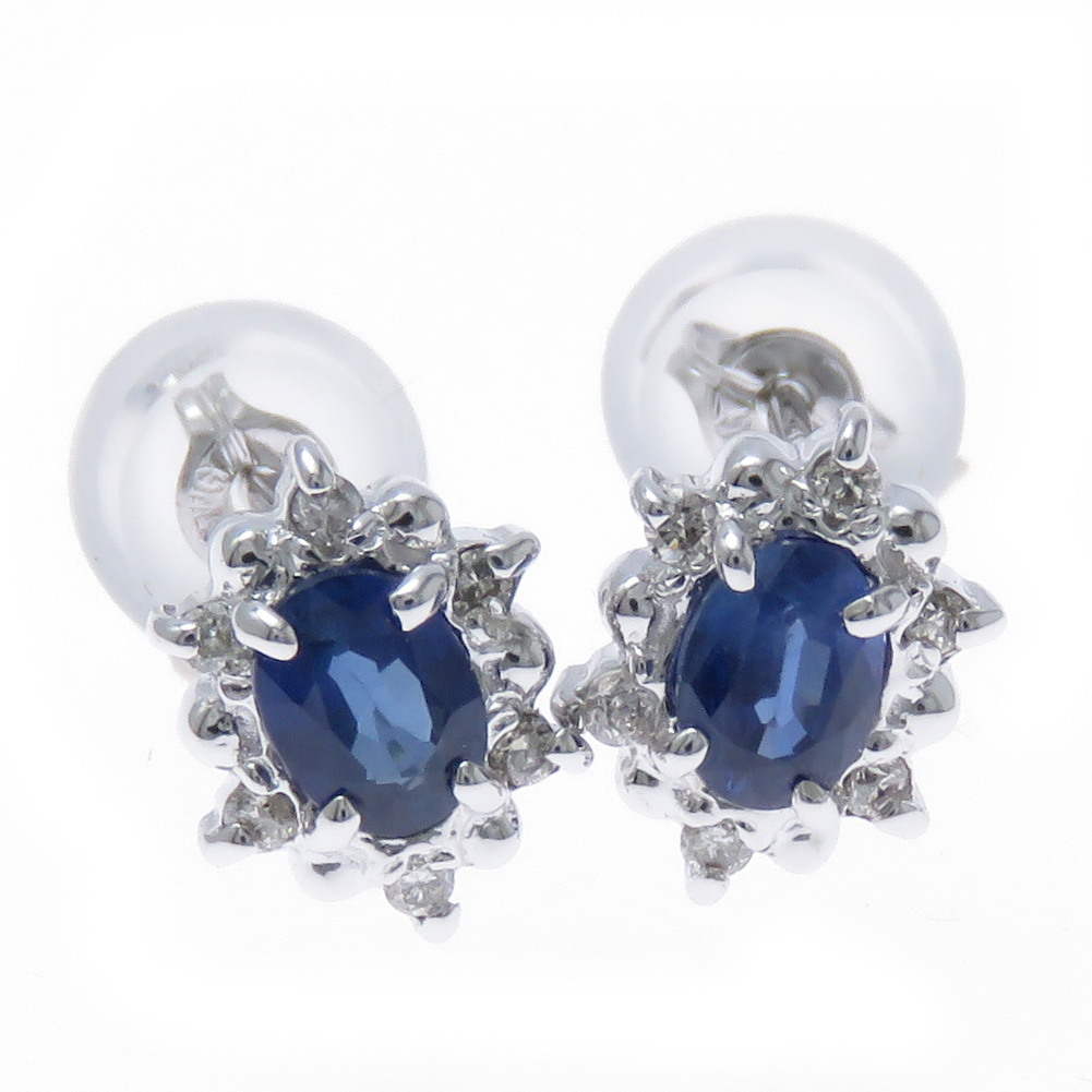 K18WG サファイア ダイヤモンド 取り巻き ピアス 選べる金色 選べる宝石 誕生石 バースデイストーン