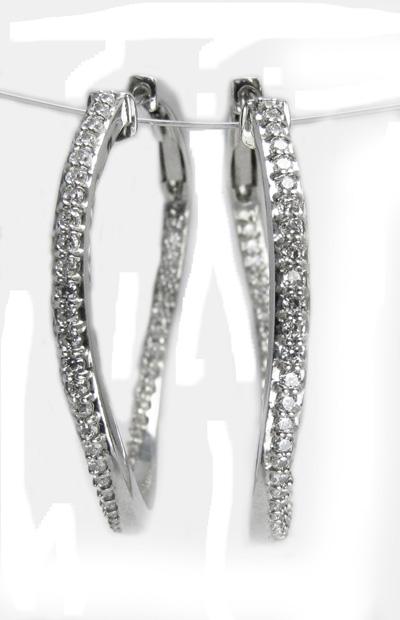 ダイヤモンド フープ ピアス Pt900 1ペア販売 送料無料 中折れ式 フープピアス スナップピアス 高級