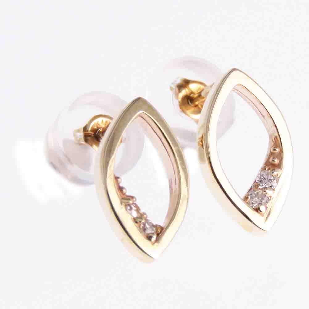 オーバル型のシンプルデザイン ピアス レディース サービス 品質検査済 ダイヤモンド ダイヤピアス rapinesu-55224 オーバル リーフ型