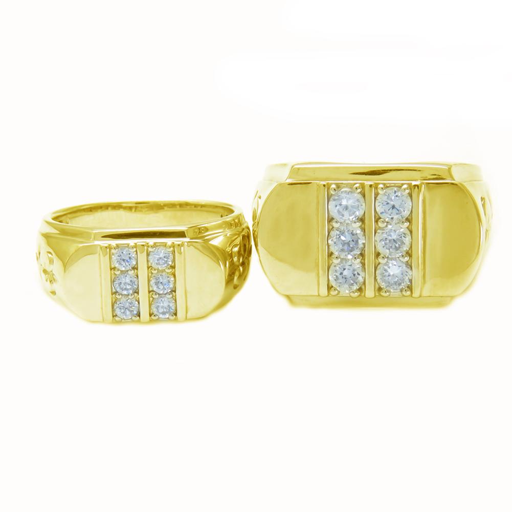 印台 大振り K18PG ペアリング 2本セット K18PG ダイヤモンド 印台 ペアリング 指輪 幅広 高級 0.8ct 0.3ct お揃い