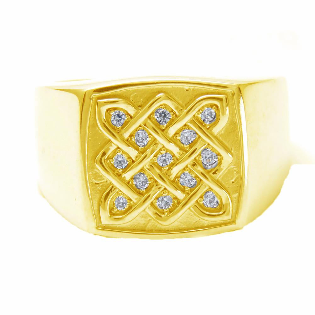 メンズ指輪 ダイヤモンドリング k10 印台 メンズリング