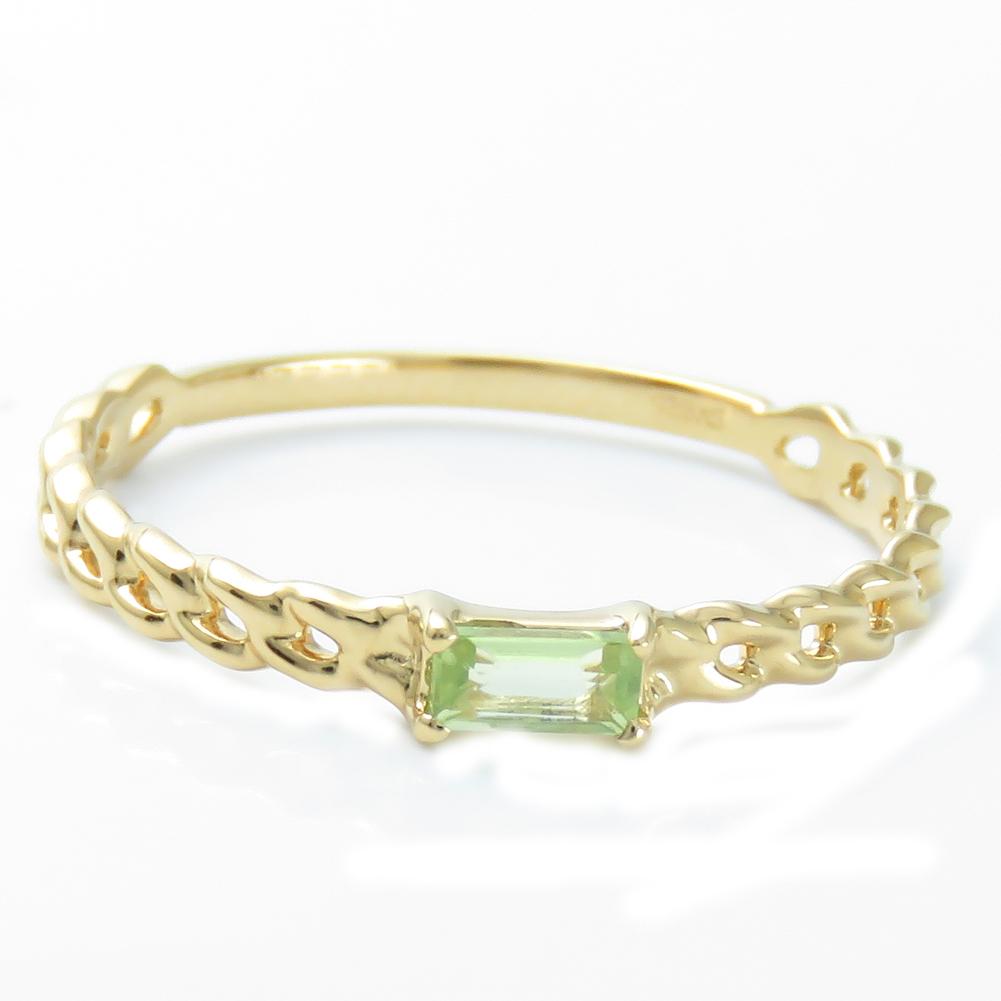 K18 バゲットカット カラーストーン リング 指輪 K18 K18WG K18PG選べる金色 選べる宝石 ペリドット ホワイトトパーズ ブルートパーズプレゼント ギフト対応 ラッピング 色石