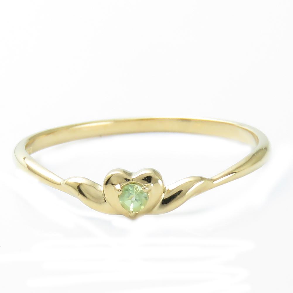 K18 ペリドット お手頃 18金 リング 指輪プレゼント ギフト対応 ラッピング ハート 重ね付け 色石