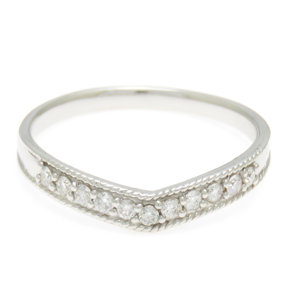Pt900 ダイヤモンド リング 11石 V字のしなやかなデザイン プラチナ 送料無料 プレゼント ギフト対応