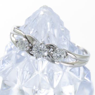 ダイヤモンドリング プラチナ900 PT900 0.3ct 指輪 ダイヤモンド 3石 レディース