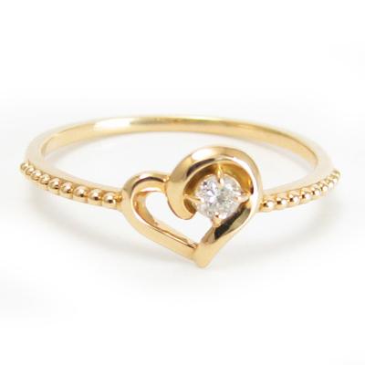 ダイヤモンド リング K18 ハート 選べる金色 ミル打ち加工 オープンハート18金 ホワイトゴールド ピンクゴールド 送料無料 プレゼント ギフト対応 サイズ限定商品