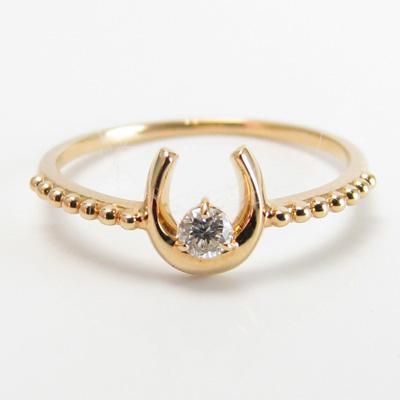 ダイヤモンド リング K18 選べる金色 ミル打ち加工 馬蹄 ホースシュー18金 ホワイトゴールド ピンクゴールド 送料無料 プレゼント ギフト対応 サイズ限定商品