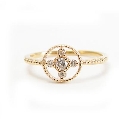 ダイヤモンド リング K18 選べる金色 ミル打ち加工18金 ホワイトゴールド ピンクゴールド 送料無料 プレゼント ギフト対応 サイズ限定商品