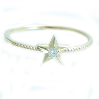 K18 ダイヤモンド リング 星形 スター 細身 ミル打ちデザイン