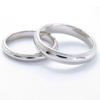 Pt900 地金 結婚指輪 ペアリング マリッジリング オプション ミル打ち加工他には少ない1周ぐるりとミル打ち加工