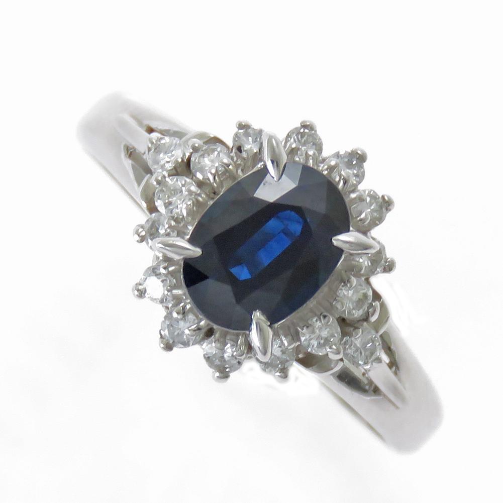 Pt850 サファイア ダイヤモンド リング 在庫限定商品 1カラット 大粒