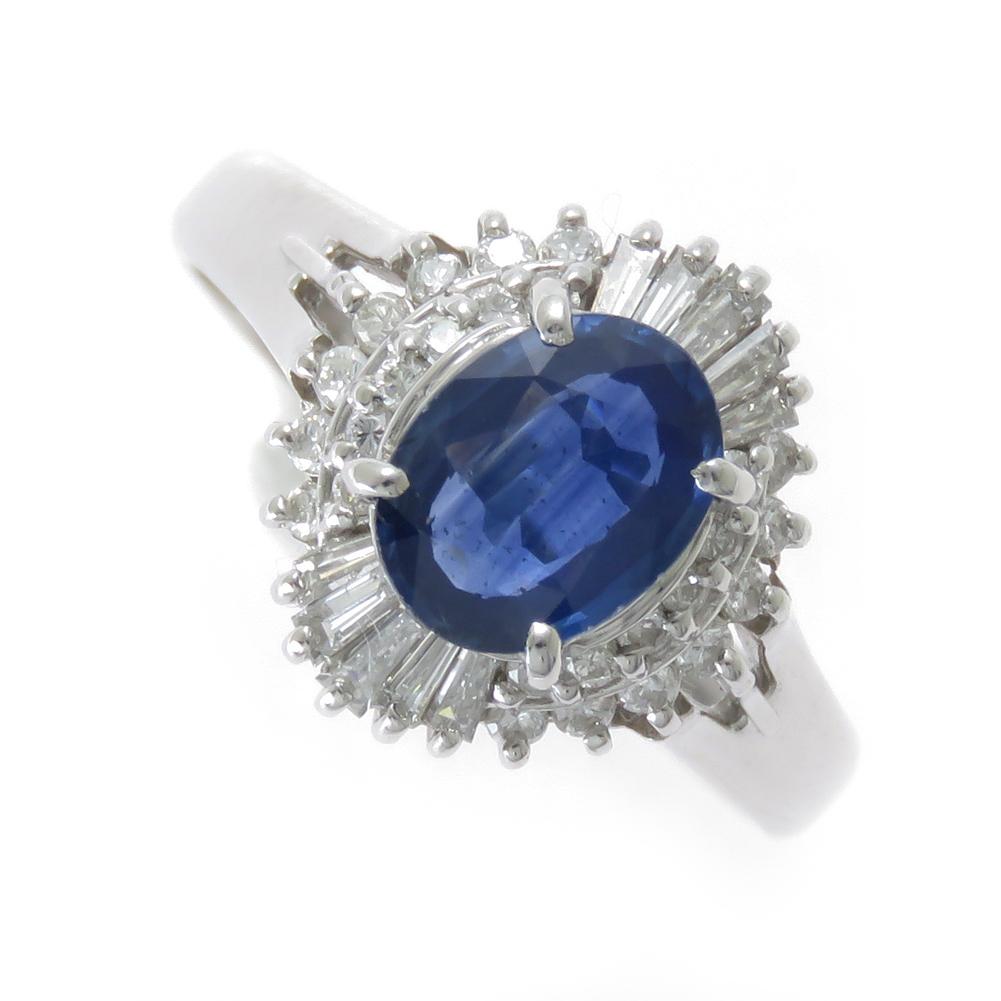 現品限り サイズ12号 Pt900 サファイア ダイヤモンド リング 在庫限定商品 1カラット 大粒