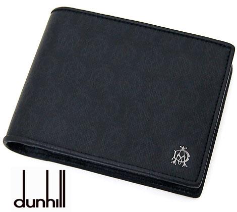 dunhill  ダンヒル WINSOR BLACK ウィンザーブラック 小銭入れ付 二つ折り財布 ブラック L2PA32A【送料無料】【05P03Dec16】