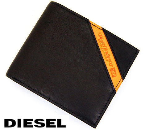DIESEL ディーゼル Hiresh S レザー メンズ用 小銭入れ付 二つ折り財布 ブラック X03611 PR227 T8013 専用BOX付【送料無料】【05P03Dec16】
