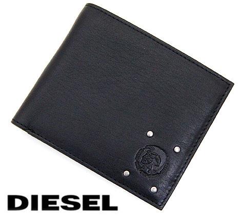 DIESEL ディーゼル Hiresh S CAMOU`N`DYED レザー メンズ用 小銭入れ付 二つ折り財布 ブラック×カモフラージュ X03449 P0684 H5758【送料無料】【05P03Dec16】