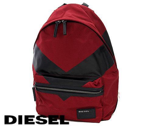 DIESEL ディーゼル X04685 P0059 H1756 V4BACK メンズ用 リュックサック バックパック レッド×ブラック ラッピング不可【送料無料】