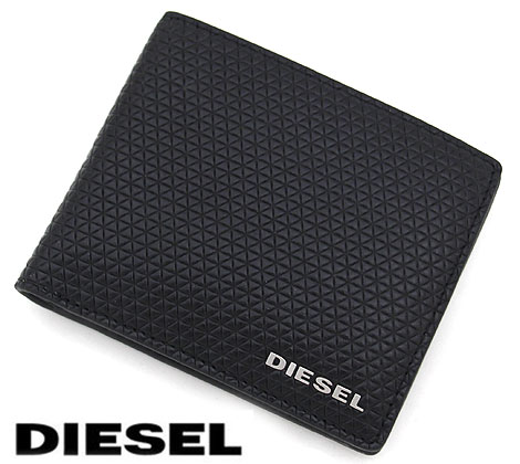 DIESEL ディーゼル X04774 P1356 T8013 HIRESH S メンズ用 小銭入れ付 二つ折り財布 ブラック【送料無料】