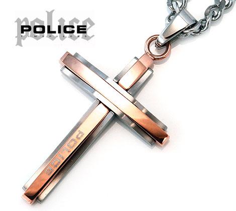 POLICE  ポリス 25695PSRG GLAZE バイカラー クロス/十字架 ネックレス/ペンダント ピンクゴールド×シルバー【送料無料】