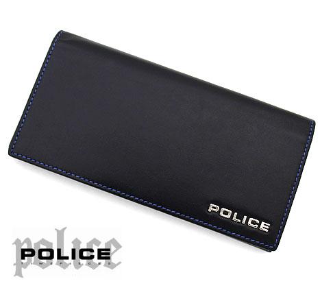 POLICE ポリス PLC132 BLACK ボルドゥーラ 小銭入れ付 長財布 ブラック×ブルーステッチ 【送料無料】