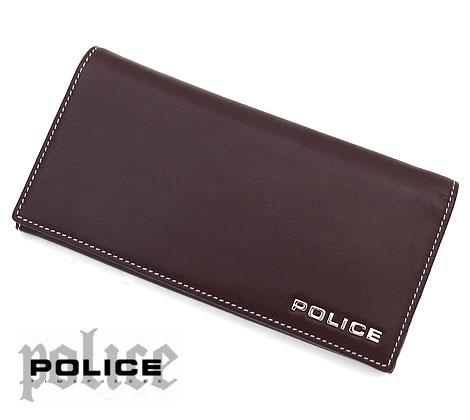 POLICE ポリス PLC132 BROWN ボルドゥーラ 小銭入れ付 長財布 ブラウン×ホワイトステッチ 【送料無料】