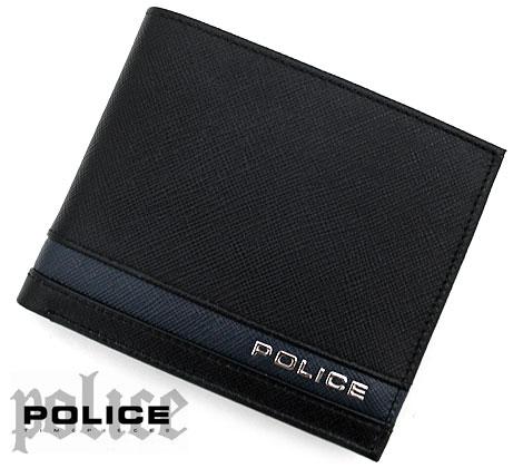 POLICE ポリス PLC138 BKNV ボーダーライン 小銭入れ付 二つ折り財布 ブラック×ネイビー【送料無料】