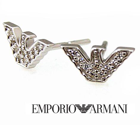 EMPORIO ARMANI エンポリオ アルマーニ イーグルロゴ ピアス シルバー ラインストーン付 EG3027040【送料無料】