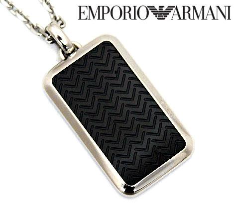 EMPORIO ARMANI エンポリオ アルマーニ EGS2228001 アクセサリー イーグルロゴ プレート ネックレス/ペンダント ブラック×シルバー EGS2228001【送料無料】