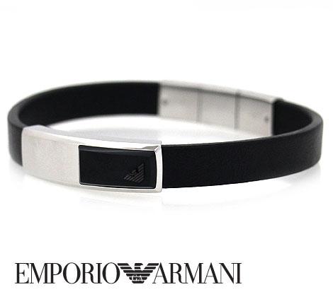 EMPORIO ARMANI エンポリオ アルマーニ レザー アクセサリー イーグルロゴ ブレスレット ブラック×シルバー EGS2288040【送料無料】