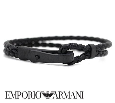 EMPORIO ARMANI エンポリオ アルマーニ EGS2477001 レザー メッシュ アクセサリー ブレスレット イーグルロゴ ブラック【送料無料】