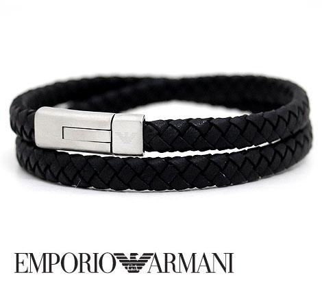EMPORIO ARMANI エンポリオ アルマーニ EGS2176040 レザー アクセサリー ブレスレット イーグルロゴ ブラック【送料無料】