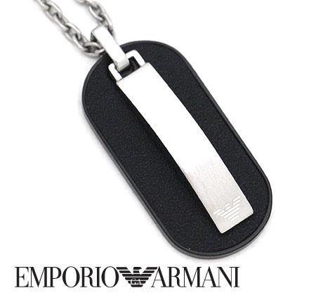 EMPORIO ARMANI エンポリオ アルマーニ EGS2538040 アクセサリー イーグルロゴ ネックレス/ペンダント ブラック×シルバー 【送料無料】